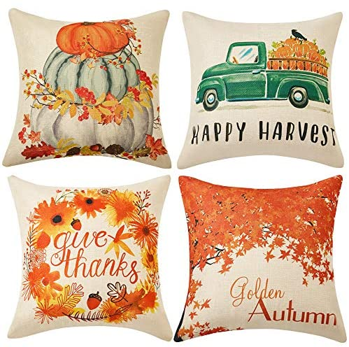 WLNUI Set of 4 Thanksgiving Pillow Covers Happy Harvest Give Thanks Golden Fall Theme Cotton Linen Throw Pillow Covers Cushion Cases for Sofa Couch Home Decor 18×18 Inch