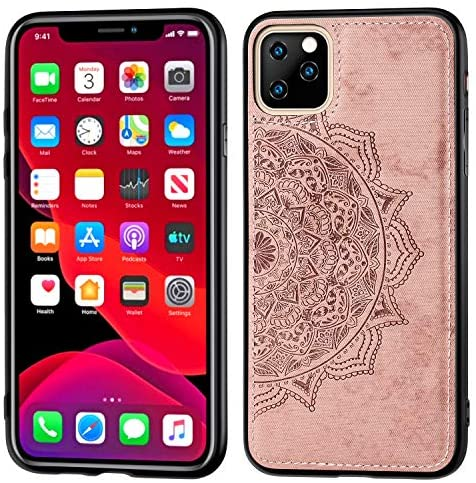 3D Cloth Embossed Case Compatible with iPhone 11 (2019) 6.1 Mandala Floral Anti-Scratch Shockof Cases Cover for iPhone 11 6.1 inch -Rose Gold