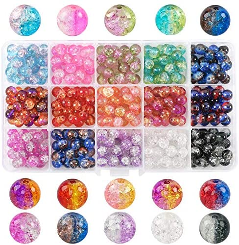 DICOBD 375pcs Crystal Glass Beads, 15 Color Crackle Lampwork Glass Round Beads for Bracelets, Necklaces and Other Jewelry Making