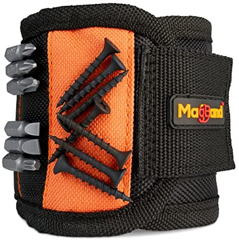 Magnetic Wristband, Super Strong Magnets Holds Screws, Nails, Drill Bits, A Black DIY Magnet Wristband, A Unique And Cool Gift Item For – Men/Women, Dad, Guys, Husband, Boyfriend, Him and Birthdays.