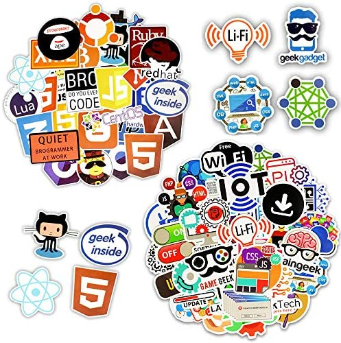 100 PCS Cool Programming Stickers Logo Internet Software Sticker Funny Gift for Geeks Hackers Developers to DIY Laptop Phone (A+B – 100PCS)