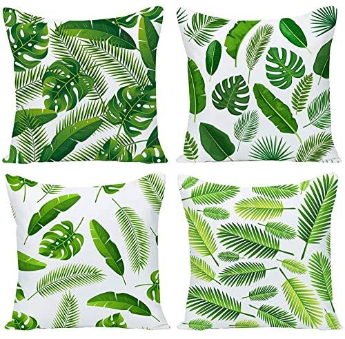 Pack of 4 Green Tropical Leaves Throw Pillow Cover Decorative Cotton Linen Burlap Square Outdoor Cushion Cover Pillow Case for Car Sofa Bed Couch 20×20