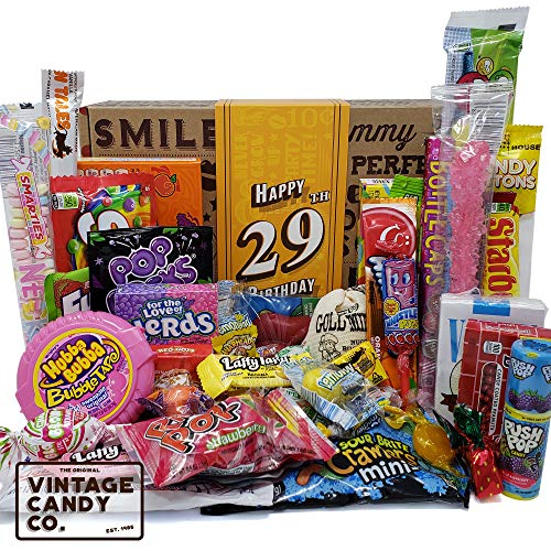 VINTAGE CANDY CO. 29TH BIRTHDAY RETRO CANDY GIFT BOX – 1991 Decade Childhood Nostalgic Candies – Fun Gag Gift Basket – 29 Years Birthday Care Package – PERFECT For Man Or Woman Turning TWENTY NINE