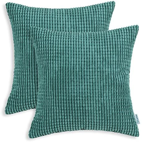 CaliTime Pack of 2 Comfy Throw Pillow Covers Cases for Couch Sofa Bed Decoration Comfortable Supersoft Corduroy Corn Striped Both Sides 22 X 22 Inches Teal