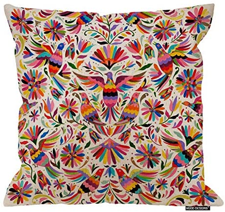 HGOD DESIGNS Mexican Design Colorful Pigeons Pheasant Pillow Case 18″ X 18″ Cotton Linen