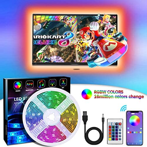LED Strip Lights TV Backlights with APP, Govee 6.6FT RGB LED Strip Lights 5050 TV Lights Kits for 24 Inch-60 Inch TV,Mirror,PC, Sync to Music for Android iOS(6.6FT)