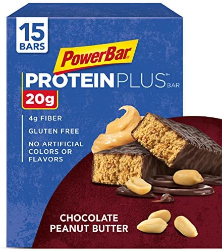 PowerBar Protein Plus Bar, Chocolate Peanut Butter, 2.12 Ounce (15 Count)