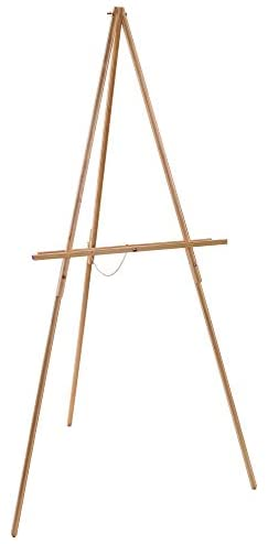 U.S. Art Supply 64″ High Torrey Wooden A-Frame Tripod Studio Artist Floor Easel – Adjustable Tray Height, Holds 40″ Canvas – Wood Display Holder Stand for Paintings, Drawings, Framed Photos, Signs