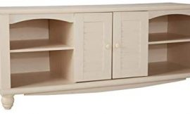Sauder Harbor View Entertainment Credenza, For TV's up to 60″, Antiqued White finish