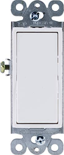 GE Grounding Paddle Rocker Switch, Single Pole, In Wall On/Off Power Switch Replacement for Ceiling Fans & Lights, 15 Amp, Great for Home, Office & Kitchen, UL Listed, White, 50726