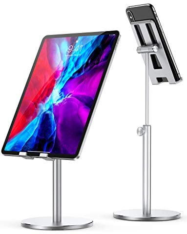 Cell Phone Stand for Desk, Upgraded Stable iPad Stand All Aluminum Alloy, LISEN Angle Height Adjustable Phone Stand Universal Phone Holder for Desk for 4.7″-12.9″ Phones, Tablet, Switch, Kindle, ect