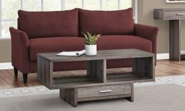 Monarch Specialties Drawer & Shelves Rectangular Cocktail Accent Coffee Table, 43″ L, Dark Taupe