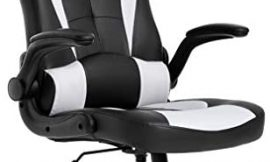 BestOffice PC Gaming Chair Ergonomic Office Chair Desk Chair with Lumbar Support Flip Up Arms Headrest PU Leather Executive High Back Computer Chair for Adults Women Men, Black and White