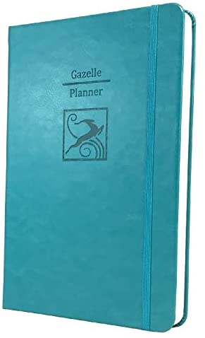 Gazelle Planner – Guided Daily Planning to Improve Organization, Time Management & Success. Daily, Monthly & Weekly Goals, 6 x 9 inches, 6 Month UNDATED Planner (Teal Blue)