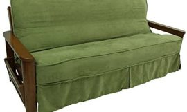 Blazing Needles Solid Microsuede Double Corded 8″ to 9″ Futon Slipcover, Full, Sage Green