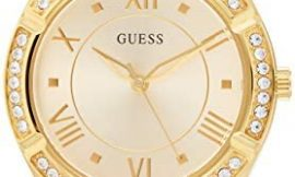 GUESS Women's Stainless Steel Analog Quartz Watch with Silicone Strap, Black, 15.5 (Model: GW0034L1)