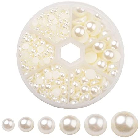 Pandahall 4-12mm Beige Acrylic Faux Pearl Half Round Cabochons About 690pcs Flat Round Dome Imitation Pearls for DIY Jewlery Scrapbooking Embellishments