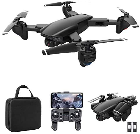 GoolRC SG701 RC Drone with 4K HD Camera, 2.4G WiFi FPV Live Video Foldable Drone, Foldable RC Quadcopter with Headless Mode, Trajectory Flight, Carrying Bag and 2 Batteries