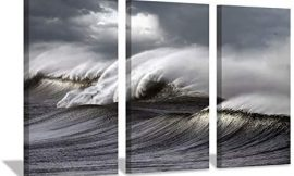 "Hardy Gallery Seascape Artwork Wave Picture Painting: Ocean Storm Photographic Art Print on Canvas for Wall(26""x16""x3pcs)"