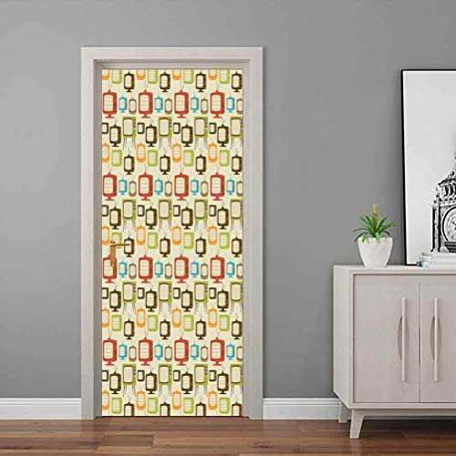 Vintage Wall Decals Old Televisions Pattern in Retro Colors Antenna Electronics Entertainment Nostalgic – Welcome Door Vinyl Decal Multicolor for Bedroom House Door Living Office – 23.6″W x 79″H