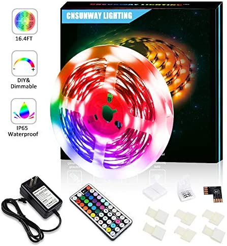 CNSUNWAY Led Strip Lights, 16.4FT Waterproof RGB Color Changing in/Outdoor Rope Light with 44 Keys RF Remote Controller for Bedrooms TV Party Festival Bars Wedding Christmas Kitchen DIY Decoration