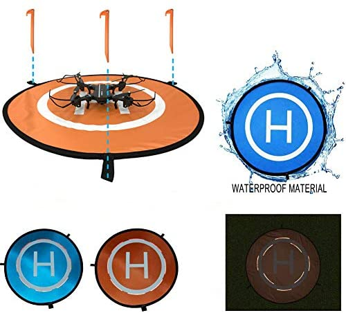 Drone Landing Pad 30in Foldable Weighted or Anchored Universal Waterproof for up to 12 DJI Mavic Pro Phantom 4 Spark Mavic Air Portable Carrying Bag