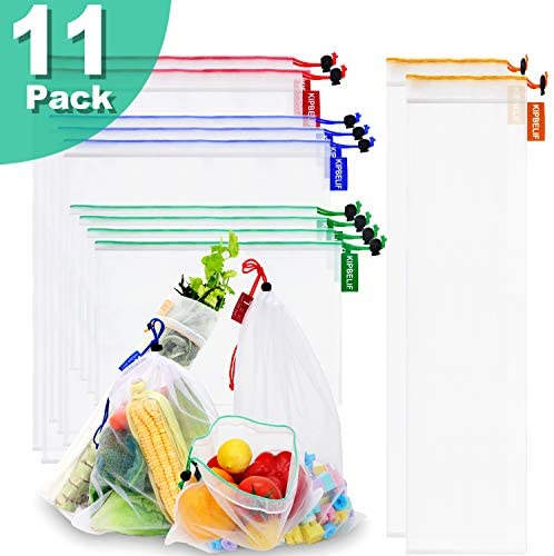 KIPBELIF Reusable Mesh Produce Bags – 11 Pack 4 Sizes Double Stitched Grocery bags, Zero Waste Washable Fruit and Vegetable Bulk Bags