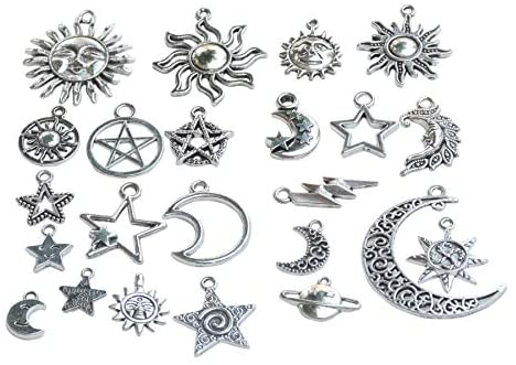 YYaaloa Star Moon 46pcs Silver DIY Charms Pendant for Crafting, Jewelry Making Accessory (Star Moon 46pcs Silver)