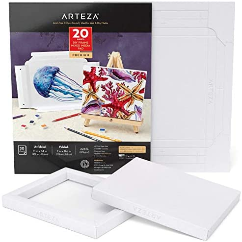 Arteza Mixed Media Paper Foldable Pad, 7×8.6 Inches, 20 Sheets, DIY Frame, Heavyweight Multimedia Paper, 228 lb, 370 GSM, Acid-Free, Wood Pulp Pad for Painting & Mixed Media Art