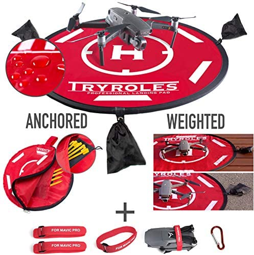 """30"""" Weighted OR Anchored Drone Landing Pad, Functional Carrying Bag, Stash Pocket + 2 Propeller Fixing Straps. for DJI Mavic, for All Drones up to 12″, c"""