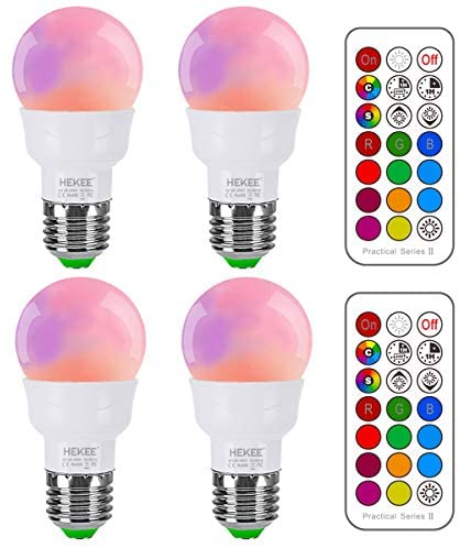 RGB LED Light Bulb, Color Changing Light Bulb, 40W Equivalent, 450LM Dimmable 5W E26 Screw Base RGBW, Mood Light Flood Light Bulb – 12 Color Choices – Timing Infrared Remote Control Included (4 Pack)