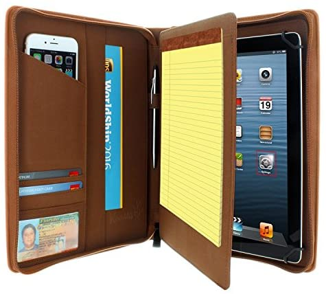 """KHOMO Universal Tablet Padfolio Zippered Case for 8.5"""" up to 11"""" tablets – Brown – Compatible with iPad Air, Pro 11 and many others"""
