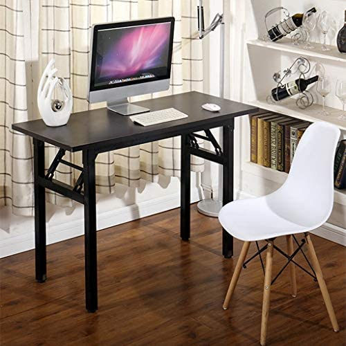 """Household Folding Computer Simple Desk,Modern Elegant Writing Table for Home Office Study 47"""" Long Durable Laptop Workstation (Wine)"""