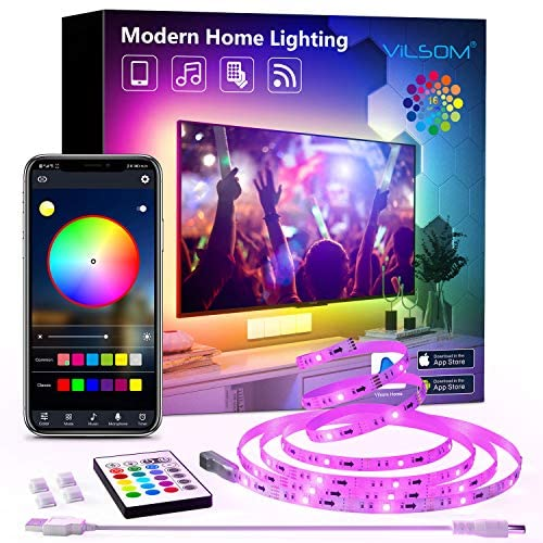 TV LED Backlight, ViLSOM 8.2ft Bluetooth APP Control LED Lights for 32-60inch TV/PC, Color Changing Music Sync with Remote USB Led Strip Lights for TV Ambient, Bedroom, Gaming Room and Home Decoration