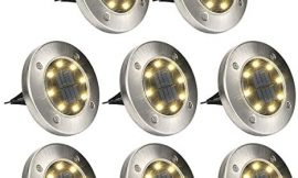 GIGALUMI 8 Pack Solar Ground Lights, 8 LED Solar Powered Disk Lights Outdoor Waterproof Garden Landscape Lighting for Yard Deck Lawn Patio Pathway Walkway (Warm White)