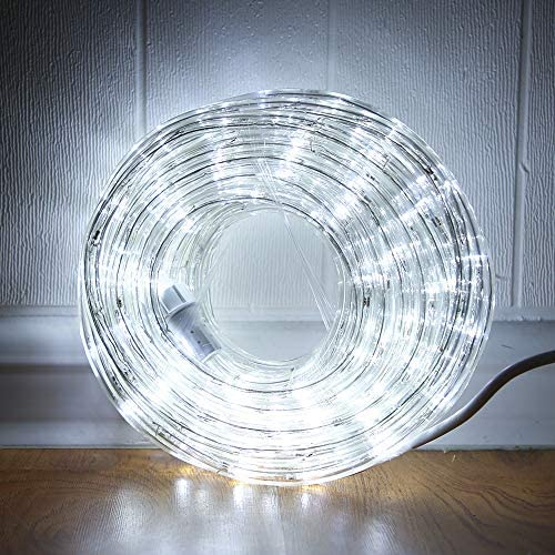 33ft LED Rope Lights,110V 2 Wire Connectable Christmas Rope Lights,240 LED White,Waterproof Indoor Outdoor Clear Tube Light Rope for Deck, Patio, Pool, Camping, Landscape Lighting (Daylight White)