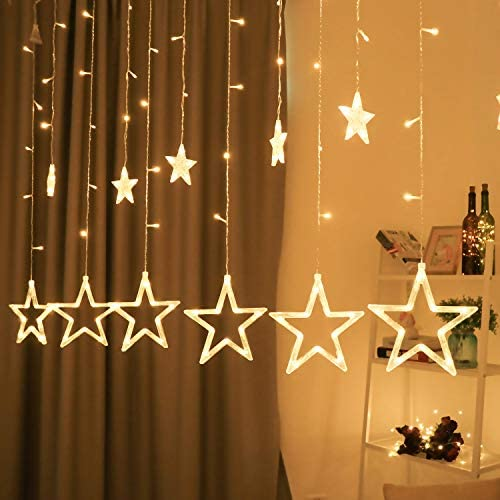 BHCLIGHT 12 Stars 138 LED Star Lights, Star String Lights for Bedroom with 8 Lighting Modes, Waterproof Fairy Lights for Bedroom, Wedding, Party, Christmas Decorations Lights – Warm White