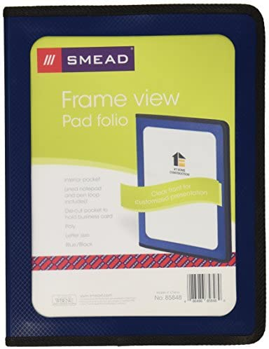 Smead Poly Pad Folio, Clear Front Pocket, Letter Size, Dark Blue (85848)