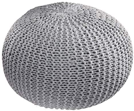 iDesign Cotton Knitted Cable Style Pouf Foot Rest, Floor Ottoman, Bean Bag Chair for Living Room, Bedroom, College Dorm, 19.69″ x 19.69″ x 11.81″ – Gray