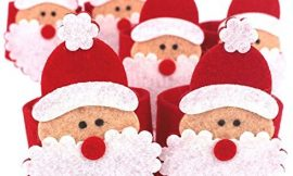 Weite 6-Pack Cute Christmas Santa Claus Napkin Ring Holders, Everyday Home Table Dinner Decoration Accessory, Napkin Band with Santa Belt Design Adornment for Party Wedding Holiday (Red)