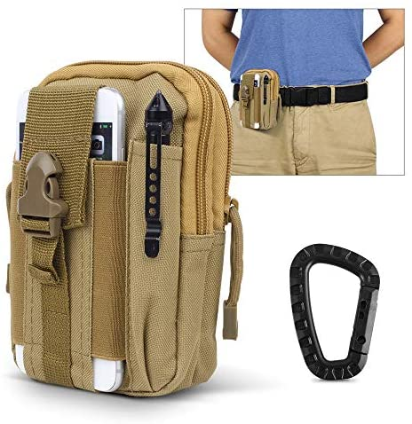 AIRSSON Universal Tactical Molle Pouch EDC/EMT Gear Tool Gadget Belt Outdoor Waist Bag Pocket Organizer with Cell Phone Holster for iPhone X Samsung S8 & Less Than 6.2″ Smartphone+Carabiner
