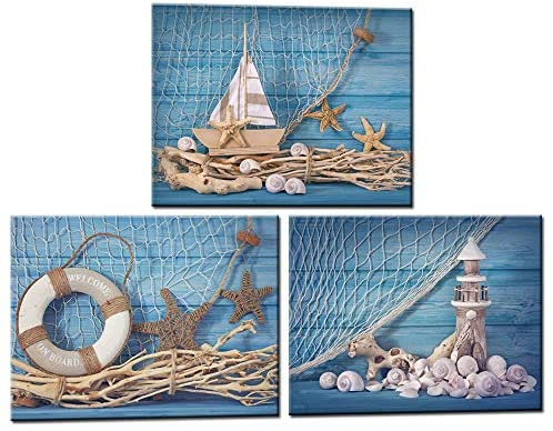 LevvArts 3 Piece Beach Canvas Wall Art Seashell Startfish with Blue Board Picture Prints Maritime Sailing Boat Lighthouse Poster Painting for Bathroom Gallery Canvas Wrapped Ready to Hang
