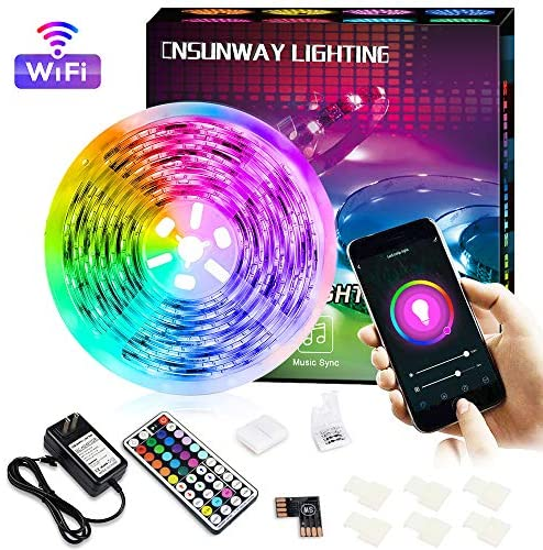 Smart LED Strip Light Compatiable with Alexa, 16.4ft 24V 150led WiFi Wireless Phone App Controlled RGB Tape Light Color Changing Sync to Music Led Light Strip Kit for Bedroom Kitchen TV Party Desk