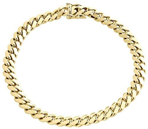 The Diamond Deal Mens Hollow 14K Yellow Gold Shiny Miami Cuban Link Chain Mens Bracelet with Secure Box-Lock Clasp (8.5″, or 9 inch)