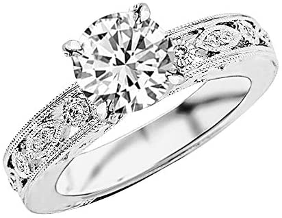 1.75 Carat 14K White Gold Antique/Vintage Bezel Set Designer GIA Certified Round Cut Diamond Engagement Ring With Milgrain (1.5 Ct H Color SI1 Clarity Center Stone)