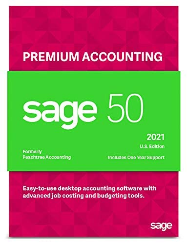 Sage Software Sage 50 Premium Accounting 2021 U.S. 5-User Small Business Accounting Software (5-Users)