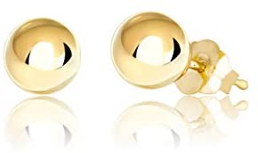 14K Gold Ball Stud Earrings, 2mm – 10mm