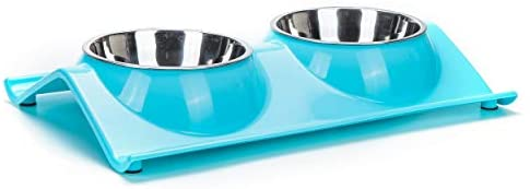 Vealind Non-Spill & Non-Skid Pet Dog Cat Elevated Stainless Steel Double Bowls Feeding Food and Water Bowl