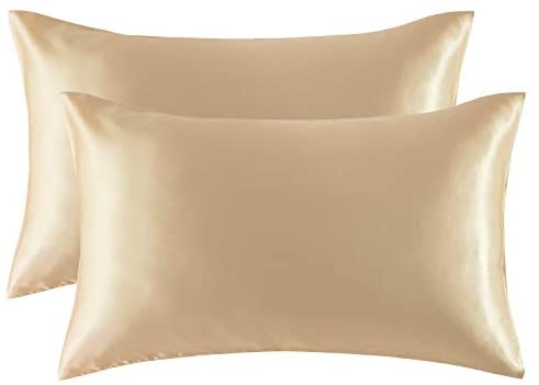 Bedsure Satin Pillowcase for Hair and Skin, 2-Pack – Queen Size (20×30 inches) Pillow Cases – Satin Pillow Covers with Envelope Closure, Champagne (Gold)