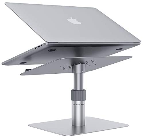 Adjustable Laptop Stand,GIKERSY Laptop Riser Adjustable Height 360 Rotating Aluminum Ergonomic Computer Notebook Stand Holder Compatible for MacBook Pro Air,Lenovo,Dell XPS,HP and More 10″-17″ Laptops
